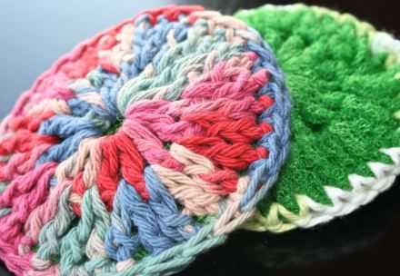 Crocheted Dish Scrubbers - One side for scrubbing and one for washing.