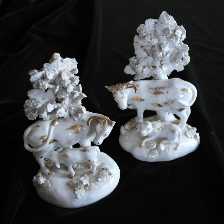 Pair of 18th Century Antique Derby Bocage Cows and Calves Figurines, from anemoneantiques on Ruby Lane