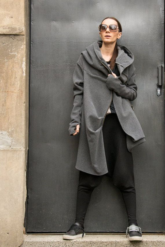 NEW COLLECTION Asymmetric Extravagant Soft Grey Hooded by Aakasha