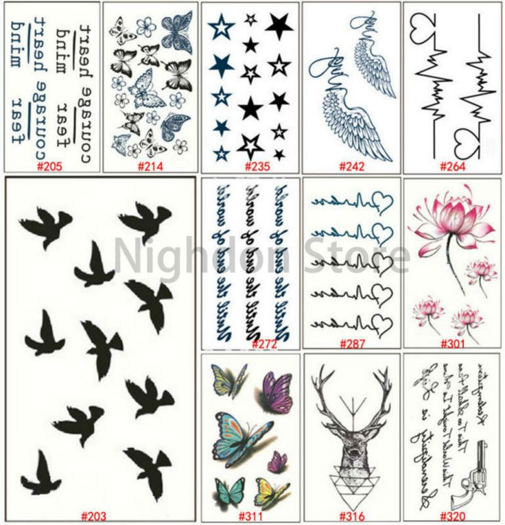 1 pc Trendy Tattoos Black White Letter Temporary Tattoo Adhesive 3d Butterfly Lotus Flower Tatto Fake Tattoos Star Heart WTA0002