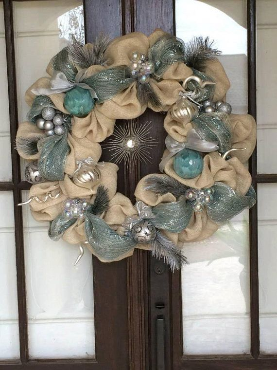 A silver and blue Christmas Burlap wreath Shinny and Sparkling Elegant Wreath Large wreath