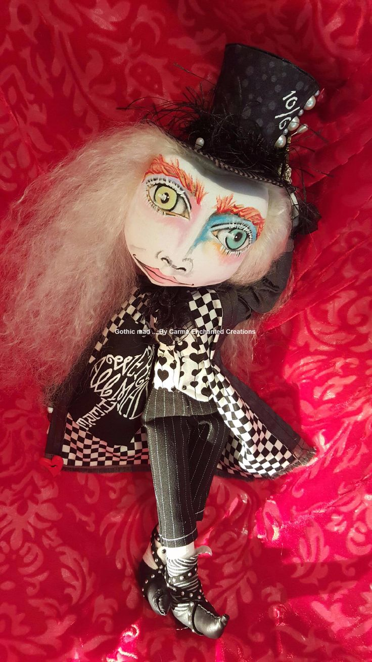 Gothic Madhatter . Darkness in wonderland by Carma Enchanted dolls