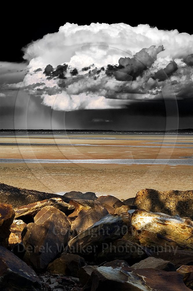 A thunderstorm over Bribie Island in the late afternoon, mixed in colour and high-contrast infrared. Photographed from Beachmere in Queensland, Australia. For image licensing enquiries, please feel welcome to contact me at derekwalker73@bigpond.com  Cheers :)
