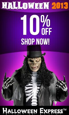 2013 Halloween Coupons - Halloween Express Coupon Codes and Discounts.  Get 10% off now.  More Halloween coupons here http://www.chachingqueen.com/tag/halloween/