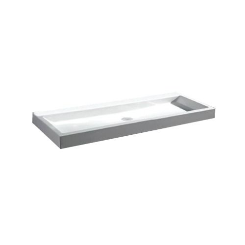 Best Design Solid look wastafel 100x42x10cm voor opbouw en wandmontage 0 kraangaten mat wit - 3880120 - Sanitairwinkel.nl