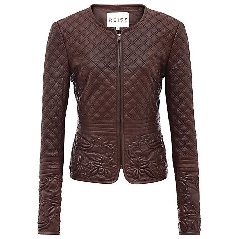 Reiss Onyx Quilted Leather Jacket, Red Online at johnlewis.com