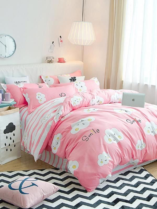 Cloud Print Contrast Striped Bedding Set Shein Sheinside Kidsbedroomsets In 2020 Striped Bedding Bedding Set Kids Bedroom Sets