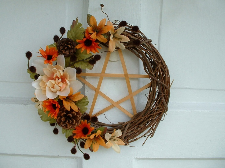 Mabon Wreath, Pentacle Wreath, Fall Wreath, Grape Wreath, Autumn. $22.99, via Etsy.