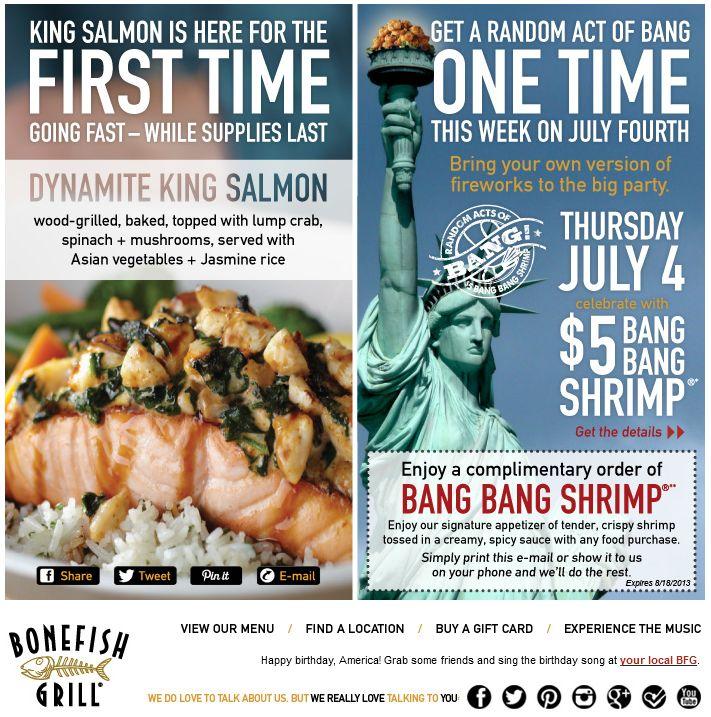 Pinned July 6th: Bang bang shrimp appetizer free at Bonefish Grill coupon via The Coupons App