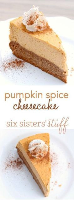 Pumpkin Spice Cheesecake from http://SixSistersStuff.com | So easy and amazing, this chewy spice cake crust with creamy pumpkin spice cheesecake filling is great for the holidays!