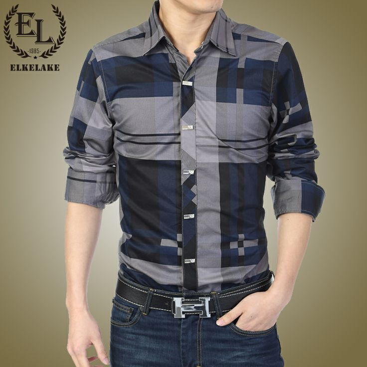2014 seconds kill full cotton twill red eleklake spring new arrival men's clothing long-sleeve shirt slim male check plus size
