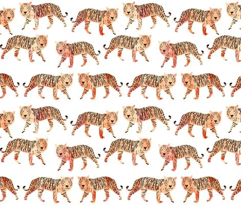 tigers // watercolor peach tigers animals watercolors painted animals fabric by andrea_lauren on Spoonflower - custom fabric