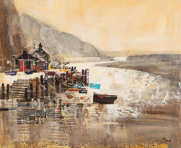 AXMOUTH HARBOUR 20X24 collage -acrylic- ink