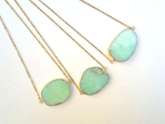 Chrysoprase Necklace Chrysoprase Pendant Mint Green Stone Necklace Rough Raw Stone Slice Pendant Gold Edged Mint Chrysoprase Jewelry