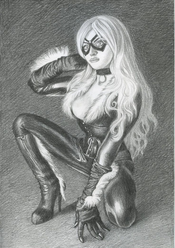 A00273 Black Cat by Roshina original drawing marvel legends comics | eBay