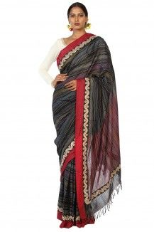 Makhmal Handwoven Multi Coloured Striped Soft Cotton Saree By Ron Dutta  Rs. 3,015