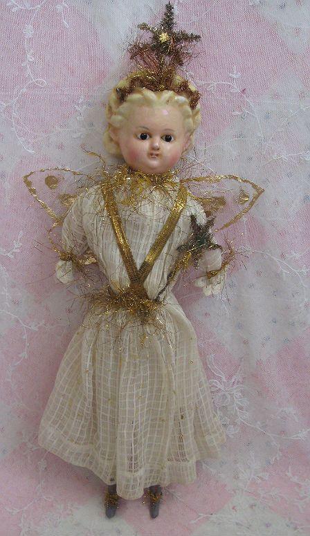Circa 1880s Wax over Papier Mache Christmas Fairy Dolls And Lace.com