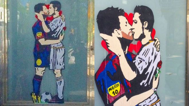 Ronaldo and Messi kissing. The love of football