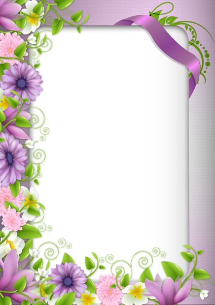 Transparent PNG Photo Frame with Purple Flowers