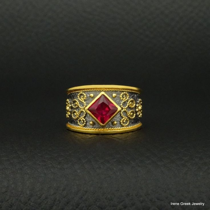 PINK RUBY CZ BYZANTINE 925 STERLING SILVER 22K GOLD & BLACK RHODIUM PLATED RING  #IreneGreekJewelry #Band
