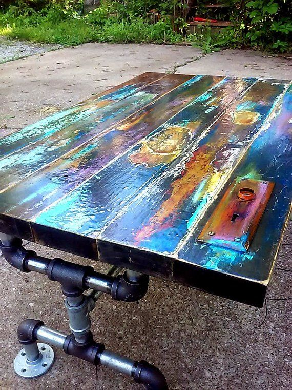 Colorful painted coffee table faux bronze patina reclaimed wood coffee table, vintage door pipe leg frame. industrial, art lover gift