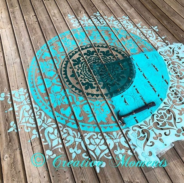 Looking For A New Outdoor Rug Solution We Got You Covered A Faux Mandala Rug Is Perfect For Any Outdoor Deck Or Patio Deck Rug Stencils Wall Outdoor Rug Diy