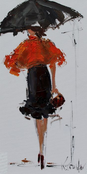 Kathryn Morris Trotter red shawl in the rain..