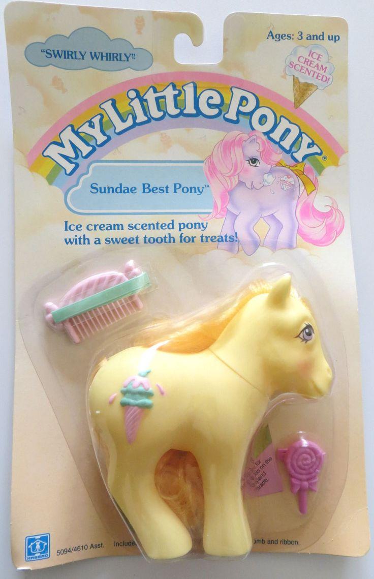 Generation One G1 Vintage 1980's My Little Pony Baby Pony Sundae Best Pony Swirly Whirly earth pony, seller tsantoscoy. #mlpmib #g1mlp #mylittlepony