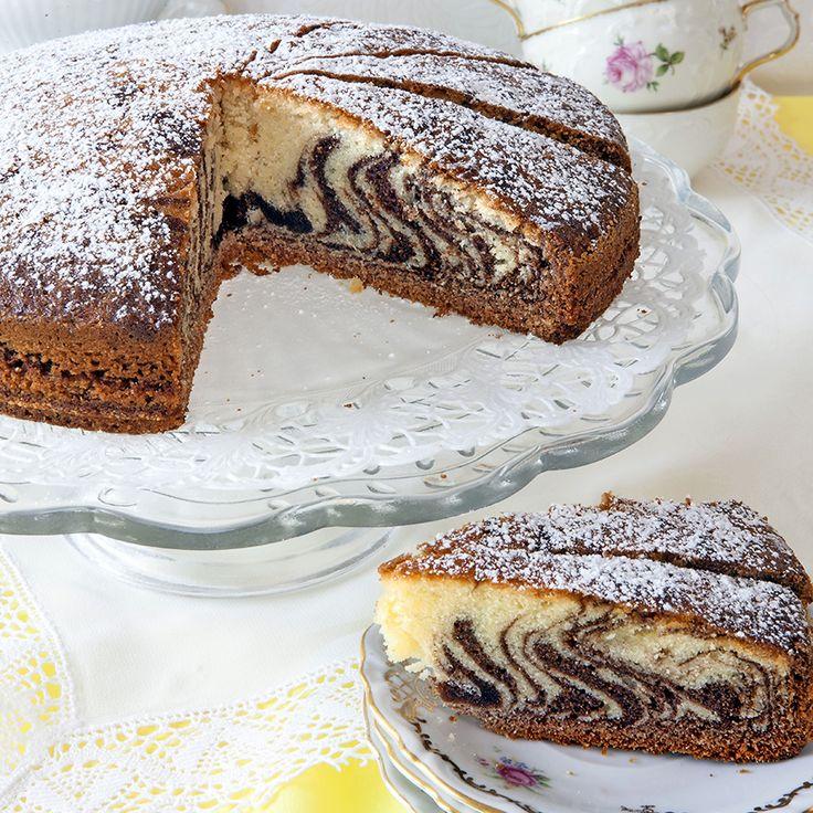Zebrarandigt är aldrig fel! Den här mjuka kakan är både snygg och god.