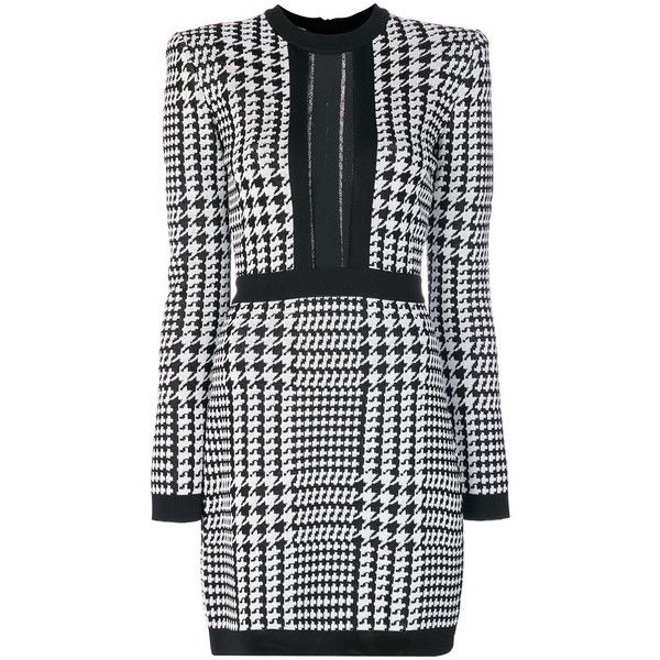 Balmain Black/White Pepita Houndstooth Dress (€1.735) ❤ liked on Polyvore featuring dresses, black, long sleeve day dresses, black and white short dresses, round neck dress, form fitted dresses and black and white long sleeve dress