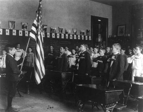 """Today in American history: September 8, 1892   The Pledge of Allegiance, written by Baptist minister Francis Bellamy, was published in a popular childrens magazine """"The Youth's Companion"""" in celebration of the 400th anniversary of Christopher Columbus's arrival in the Americas.   It was conceived as a campaign  to encourage patriotism and the display of the American flag in public schools. The publication also coincided with the opening of the World's Columbian Exposi"""