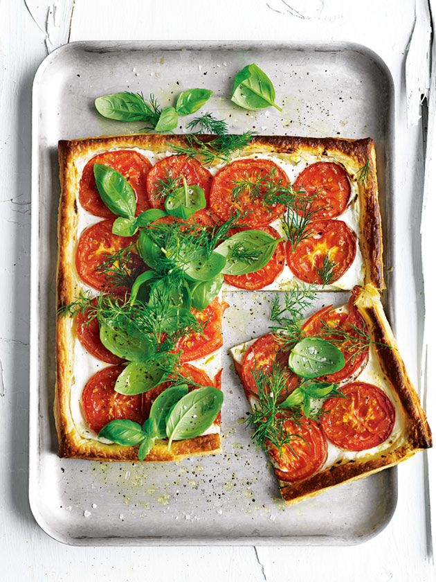 So quick, so easy and so delicious... oven-roasted tomato and goat's curd tart