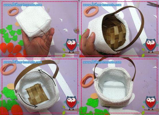 Artesanato em EVA: Coelhinho com cesto de vime