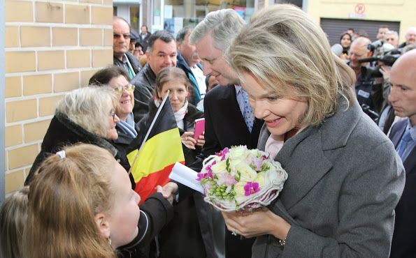 "King Philippe and Queen Mathilde of Belgium visited the charity organization ""Resto du Coeur"" in Charleroi on December 15, 2015. The Restaurants du Cœur (literally Restaurants of the Heart but meaning Restaurants of Love), commonly and familiarly known as the Restos du Cœur, is a French charity the main activity of which is to distribute food packages and hot meals to the needy. There are 16 Restos in Belgium: 12 in Wallonia, 2 in Flanders and 2 in Brussels."