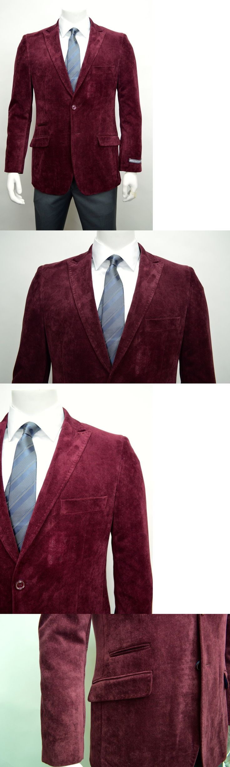 Tuxedo and Formal Jackets 105511: Men S Burgundy 2 Button Velvet Cotton Blazer W Ticket Pocket Size 48R New -> BUY IT NOW ONLY: $79.5 on eBay!