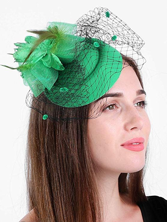 6234e17fd13ff Zivyes Fascinator Hats for Women Pillbox Hat with Veil Headband and a  Forked Clip Tea Party Headwear at Amazon Women s Clothing store