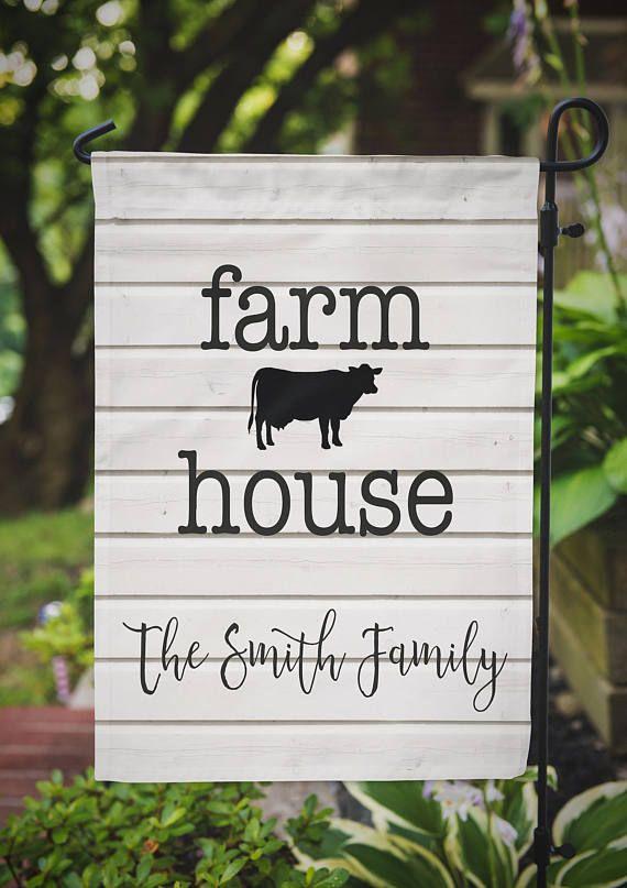 Farmhouse Garden Flag Farm House Landscaping Decor Personalized Gift Farmhouse Garden Garden Flags Garden Landscape Design