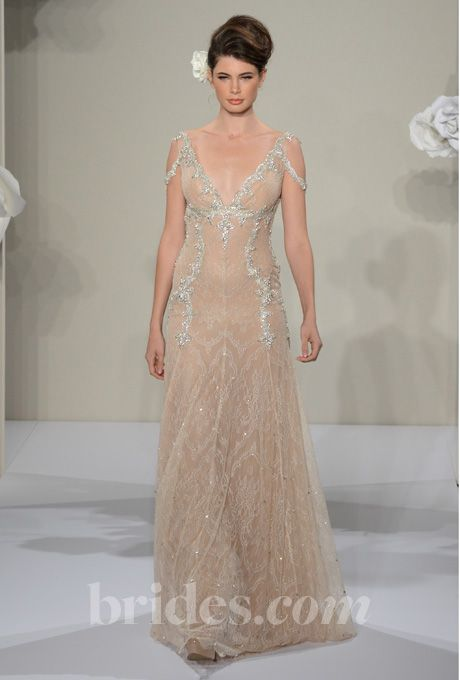 pnina tornai dress with floral sleeves | Style 4211 Pnina Tornai Wedding Dress 2013 - Blush A-Line Gown with ...