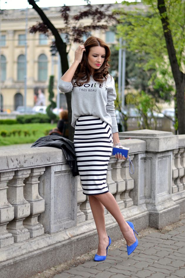 Beautiful Alina: pencil skirt on stripes, sporty sweater, blue bag and heels My Silk Fairytale: Don't sweat it!