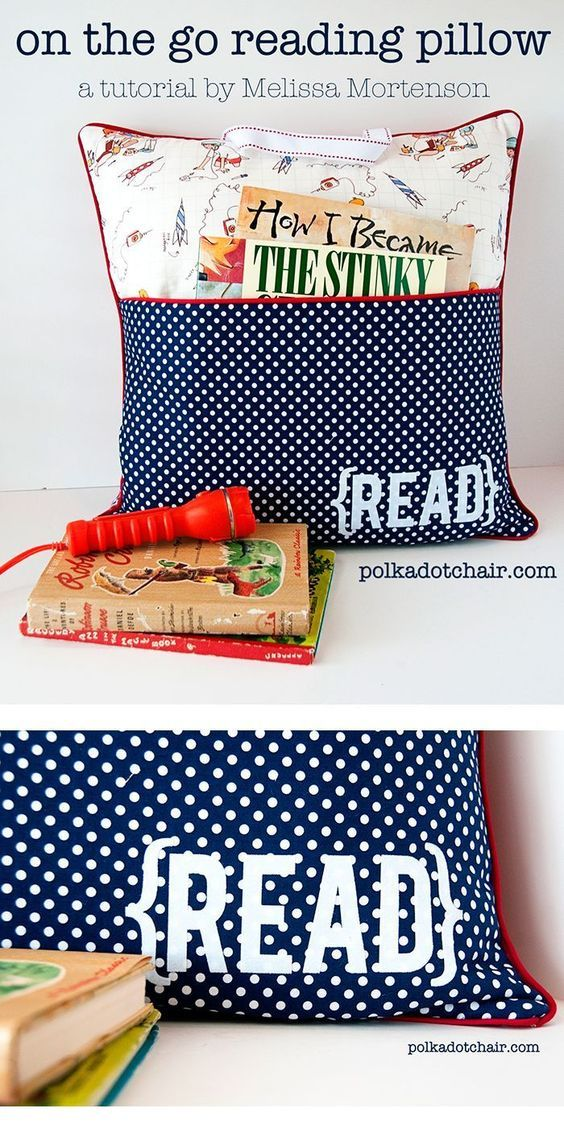 "Sewing Pattern & tutorial for an ""On the Go Reading Pillow"" a cute gift idea... a pocket pillow project for kids"