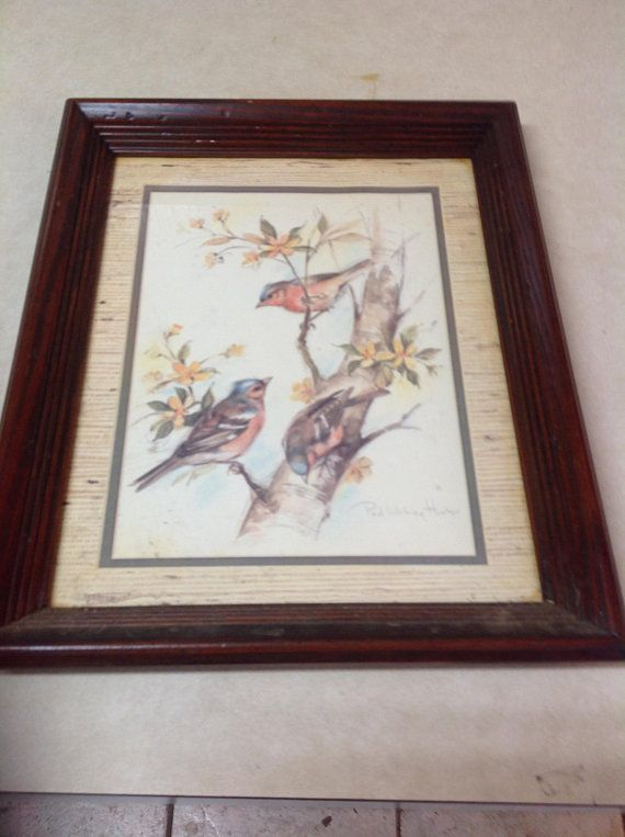 Vintage Home Interiors Framed Bird Print By Paul Whitney Hunter Birds In Trees Decor