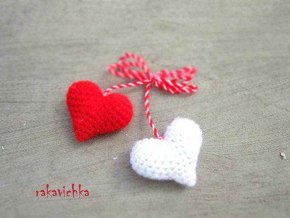 Martenitza Two Hearts Brooch Baba Marta Valentines Red by dodofit