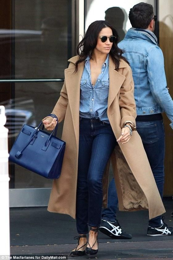 Meghan Markle wearing Saint Laurent Sac De Jour Bag in Royal Blue Leather and Sarah Flint Lily Flats