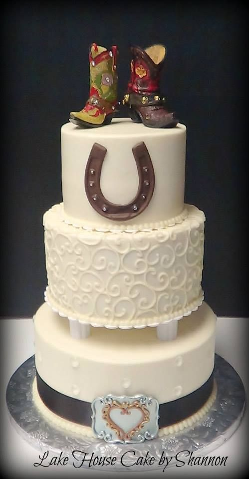 Country Wedding, Barn Wedding, Horseshoe, Cowboy, Boots, Belt Buckle, Rustic, Lake House Cake by Shannon, Panama City Beach, FL Wedding Cake