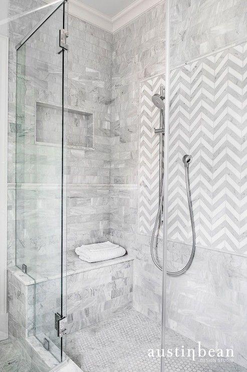 Austin Bean Design Studio - bathrooms - shower tiles, shower surround, shower surround ideas, seamless glass shower, shower bench, marble sh...