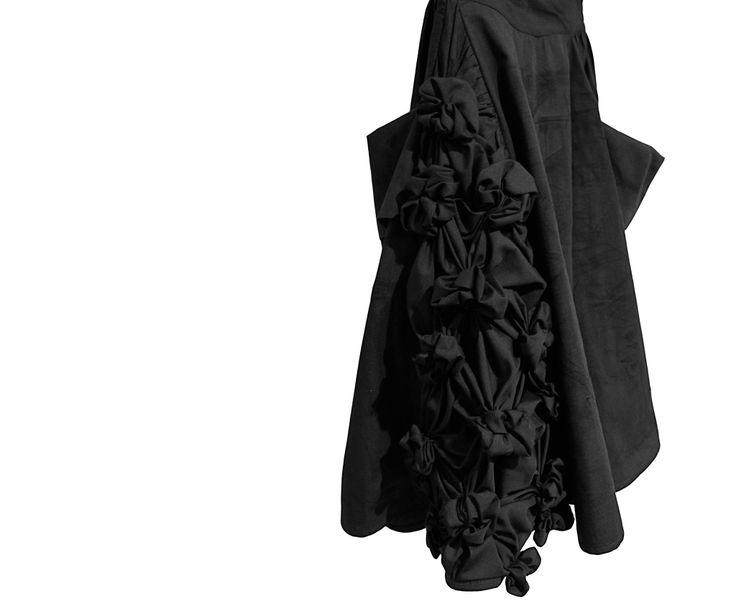 Black skirt / black hand made flowers