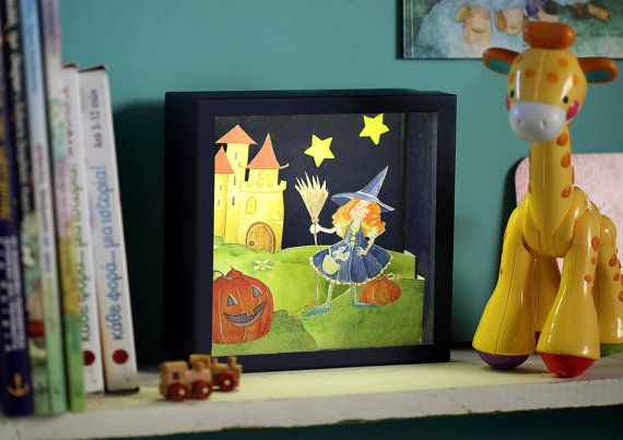 Little Witch diorama in a box with cutout paper by boxdiorama