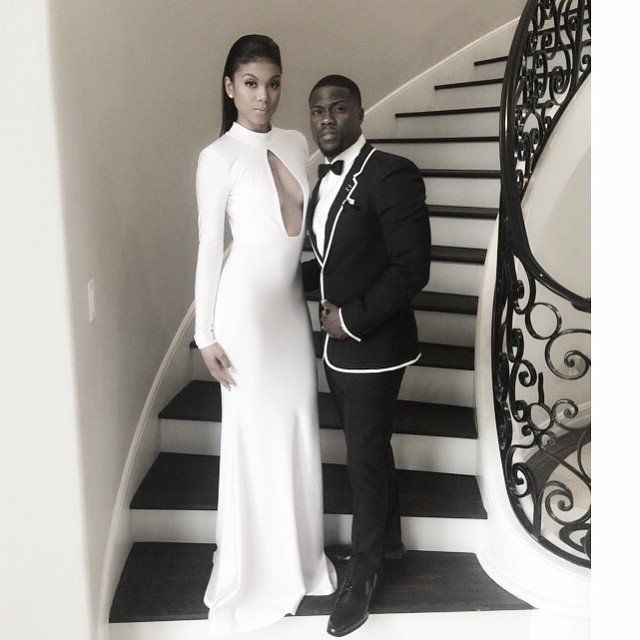 Pin for Later: Your Inside Look at the 2015 Golden Globes  Kevin Hart shared a predeparture snap with his date, Eniko Parrish.