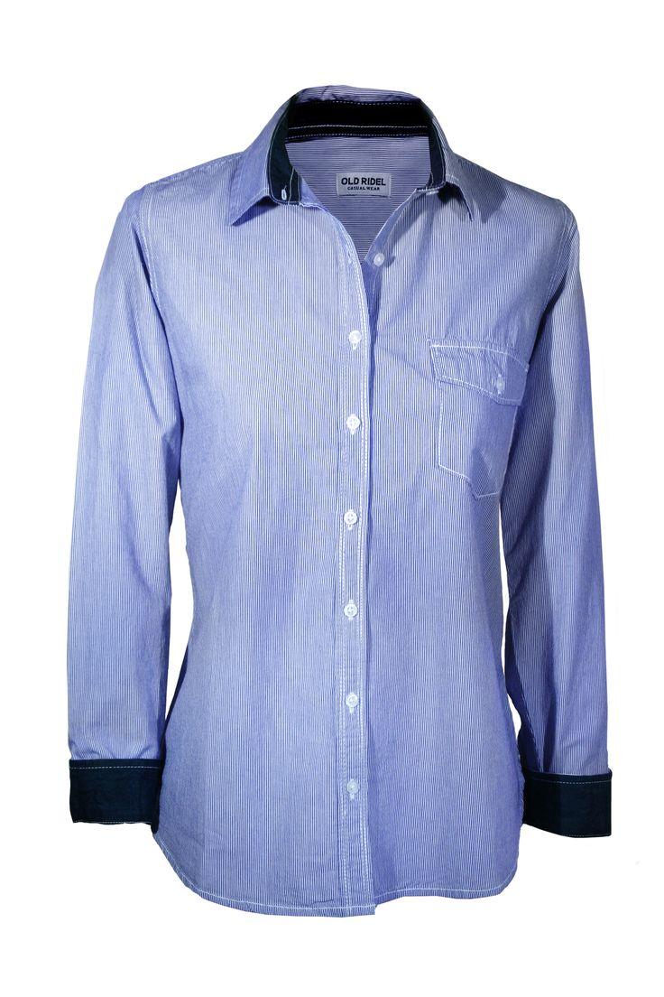 Camisa mujer popelín rayas azul y blanco con detalle en los puños y cuello en azul con topos blancos. www.oldridel.com