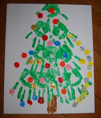 Dit jaar maken mijn kinderen een kerstschilderij in plaats van aan kerstkaart voor hun opa's en oma's. Kijk voor nog meer Kerstknutsels op www.lerendoorspelen.com/kerst.htm